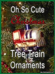 So cute Christmas tree train ornaments