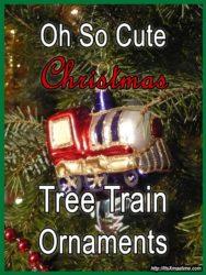 So cute Christmas tree train ornaments