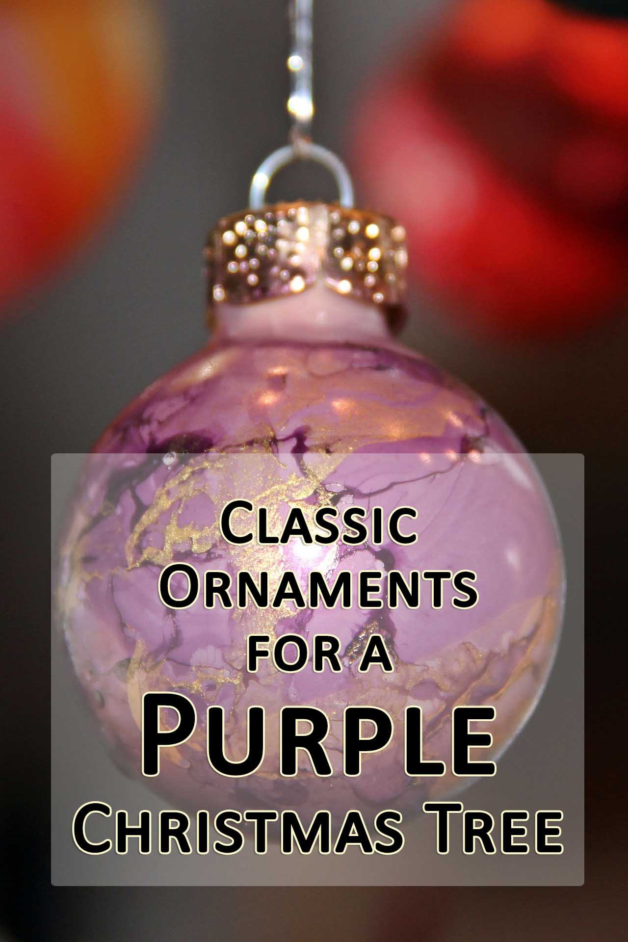 classic ornaments for a purple christmas tree