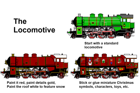 make a christmas train customize the locomotive