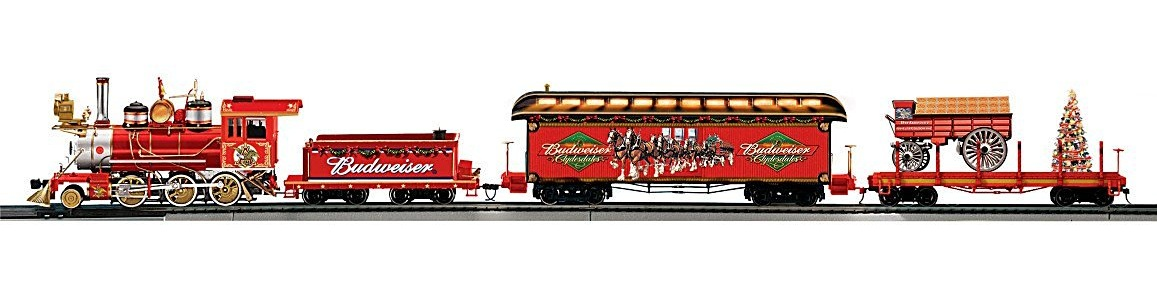 Exclusive lighted Budweiser Christmas train set