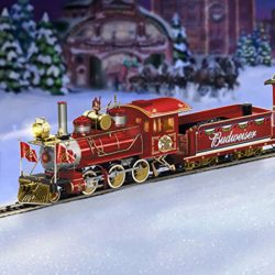 lighted budweiser christmas train set